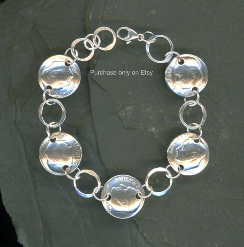 50th Birthday Gift Jewelry Women 1969 Dime Coin Silver Bracelet Ideas For Gifts Mom Best Friend