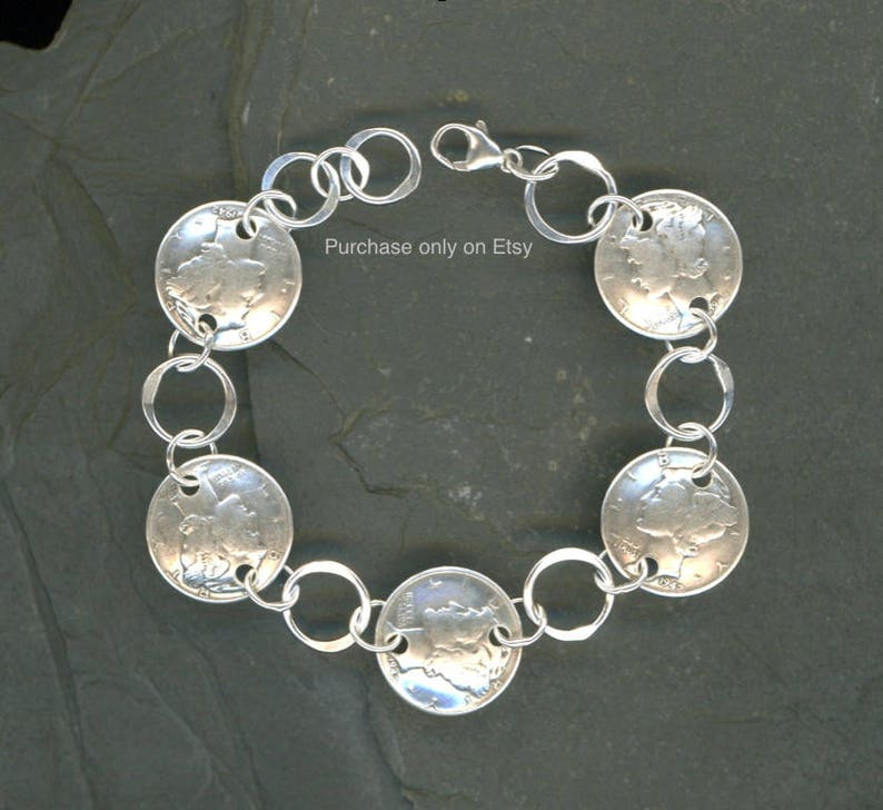 75th Birthday Gift Jewelry Women 1944 Dime Coin Silver Bracelet Gi