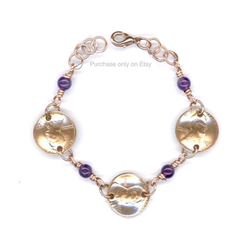 65th Birthday Gift Ideas For Her 1954 Penny Bracelet Amethyst
