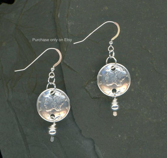 1944 Dime Earrings 75th Birthday Coin Jewelry Paua Shell Beads 1944 Dimes