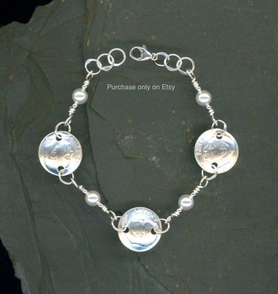 55th Birthday Jewelry Gift For Mom 1963 Dime Pearl Bracelet