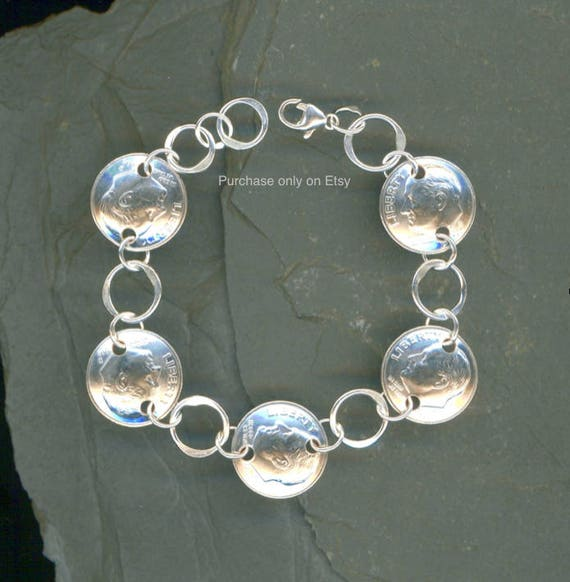 2003 Dime Silver Bracelet 16th Birthday Gift For Women