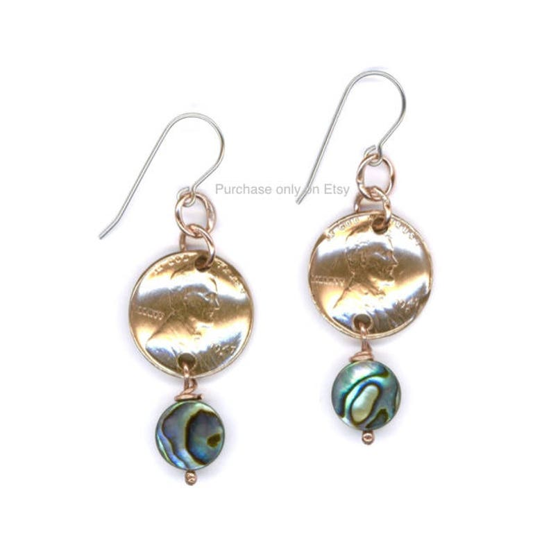 a7416193441f9 71st Birthday Gift Jewelry 1948 Penny Earrings 71st Jewelry Paua Shell  Coins Earrings 1948 Earrings
