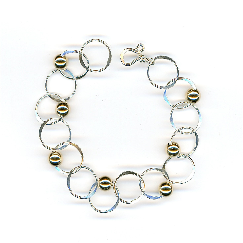 Silver Chain Link Bracelet: Silver Chain Bracelet Sterling Gold Beads Hammered Link