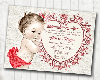 Vintage Red And Cream Girl Baby Shower Invitation Vintage Baby Etsy
