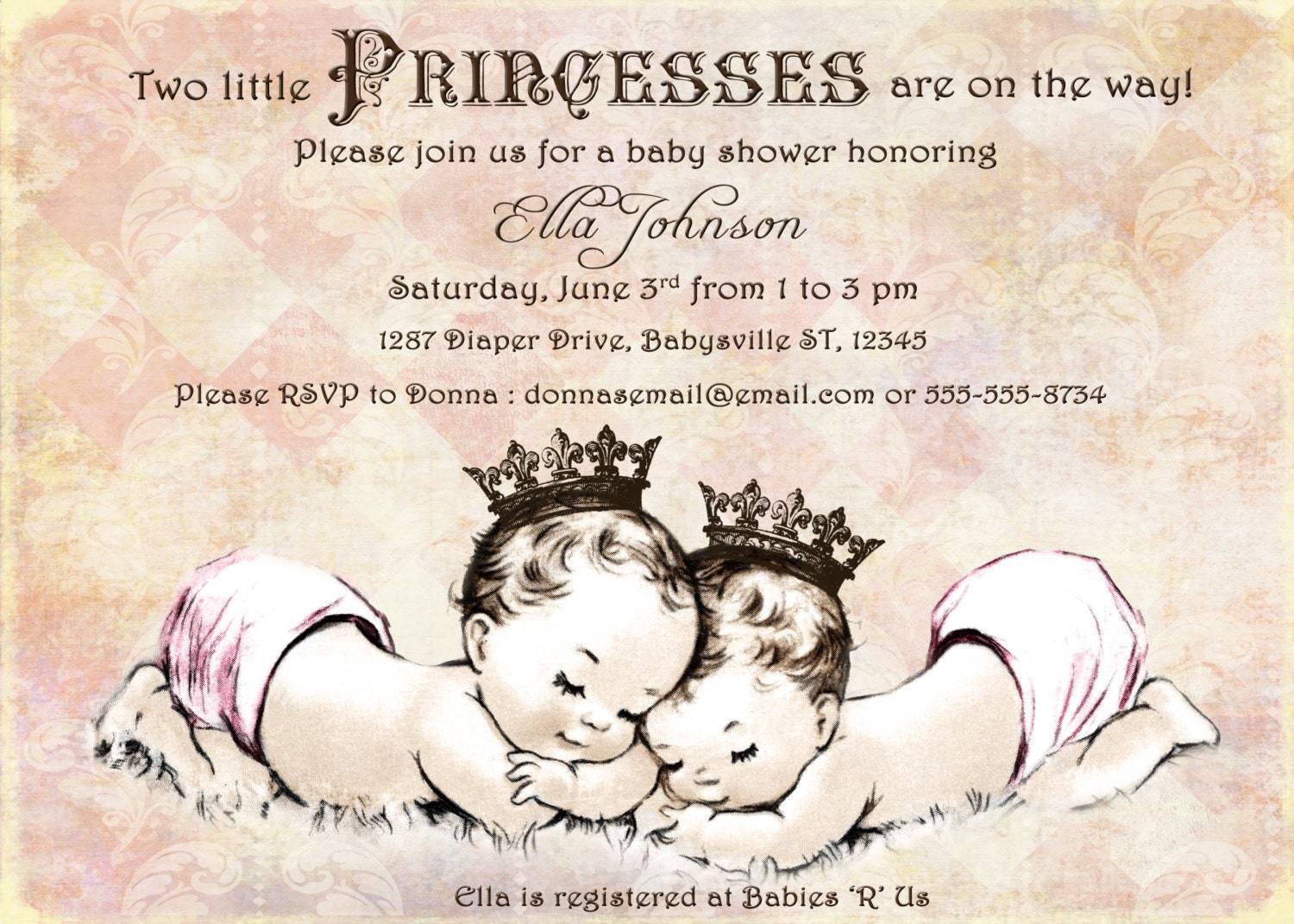 Twins Baby Shower Invitation For Twin Girls Vintage Etsy