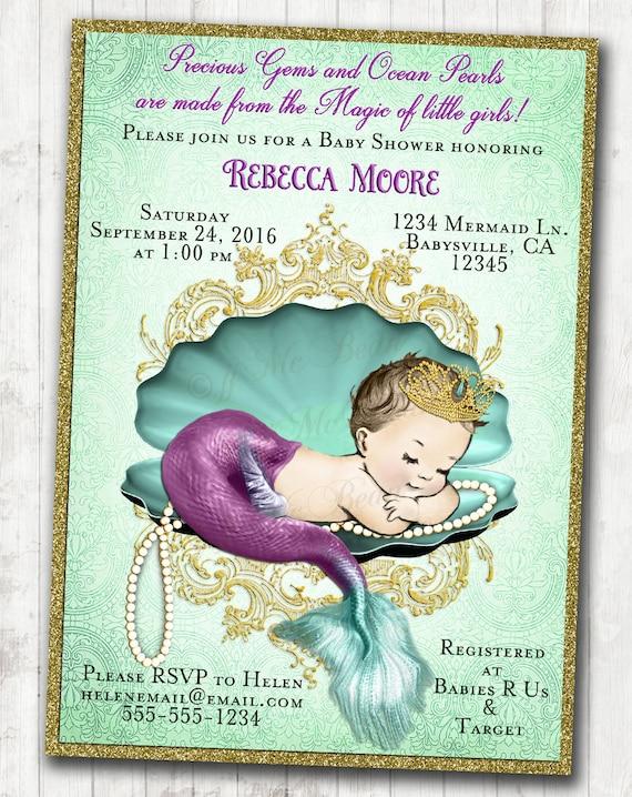 Mermaid Baby Shower Invitation Little Mermaid Baby Shower Etsy