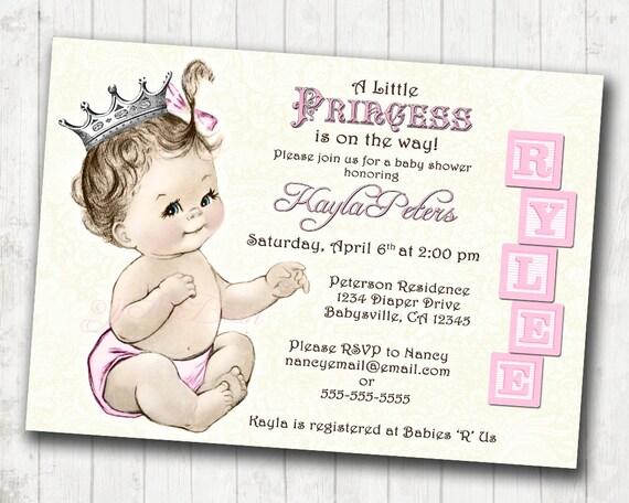 Princess baby shower invitation for girl vintage princess etsy image 0 filmwisefo