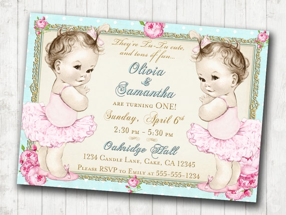 twins 1st birthday invitation for twin girls shabby chic etsy
