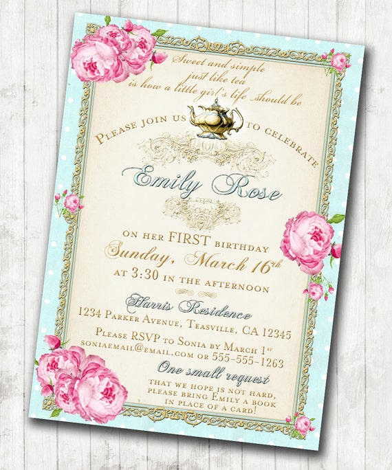 Tea Party Invitation Birthday Shabby Chic Floral Vintage