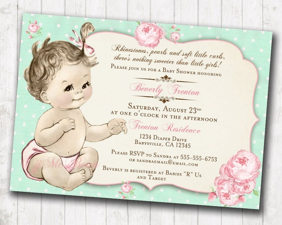 Shabby chic floral vintage baby shower invitation for girl roses il570xn filmwisefo
