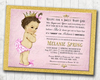 Pink and Gold Vintage Baby Shower Invitation For Girl - DIY Printable