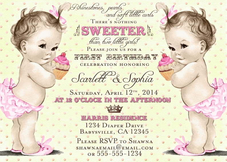 Twin Girls First Birthday Invitation  1st Birthday Twins  image 0