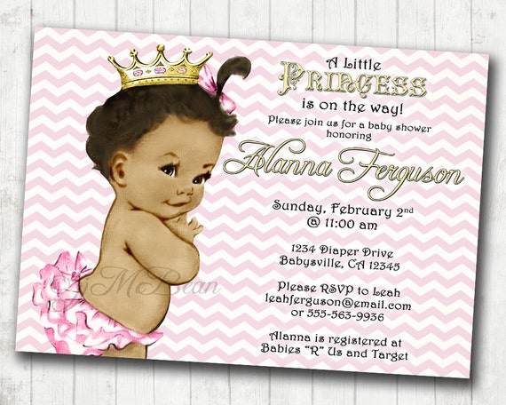 Chevron Princess Baby Shower Invitation For Girl Pink And