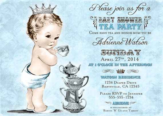 Tea Party Baby Shower Invitation For Boy Prince Crown Etsy