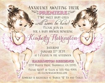 Twins Baby Shower Invitation For Twin Girls - Vintage - Ballerina - Pink - DIY Printable