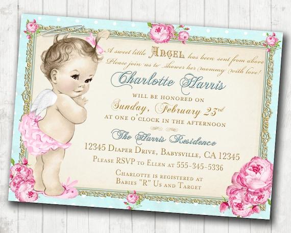 Baby Shower Invitation Angel Shabby Chic Roses Angel Etsy