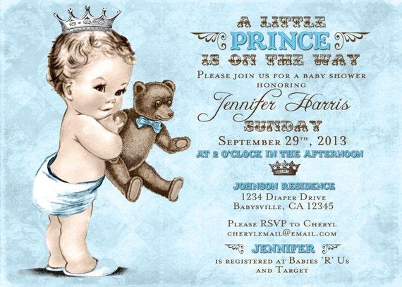 Teddy Bear Baby Shower Invitation For Boy Prince Crown Etsy
