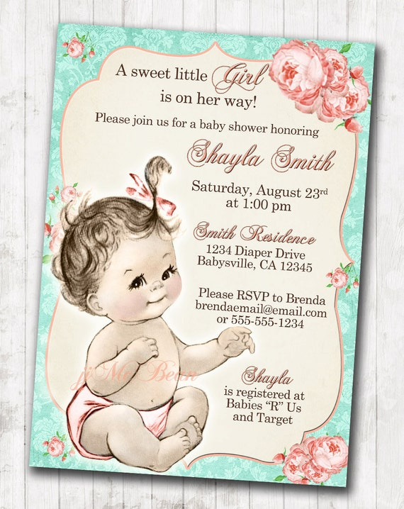 Shabby chic floral vintage baby shower invitation for girl etsy image 0 filmwisefo