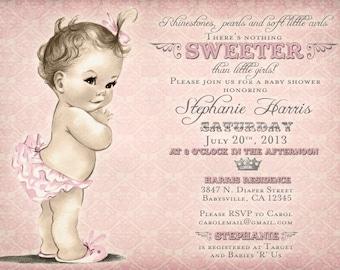 Vintage Baby Shower Invitation For Girl - Antique - Pink - DIY Printable