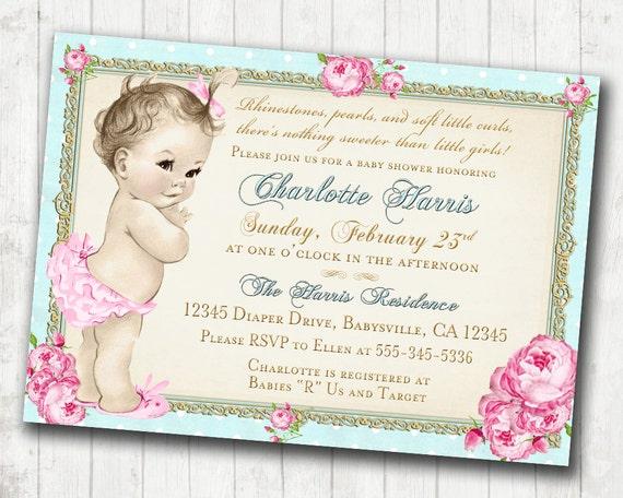Girl baby shower invitation shabby chic floral vintage baby etsy image 0 filmwisefo