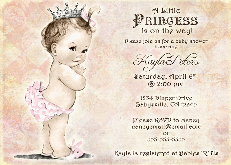 Vintage Baby Shower Invitation For Girl Princess Crown Etsy