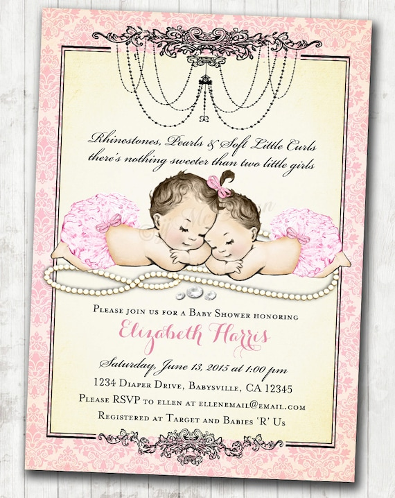 Twin Girls Baby Shower Invitation For Baby Girls Pink Vintage Etsy