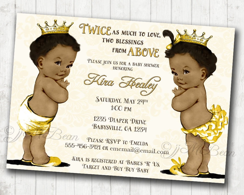 Boy and Girl Twins African American Baby Shower Invitation For | Etsy