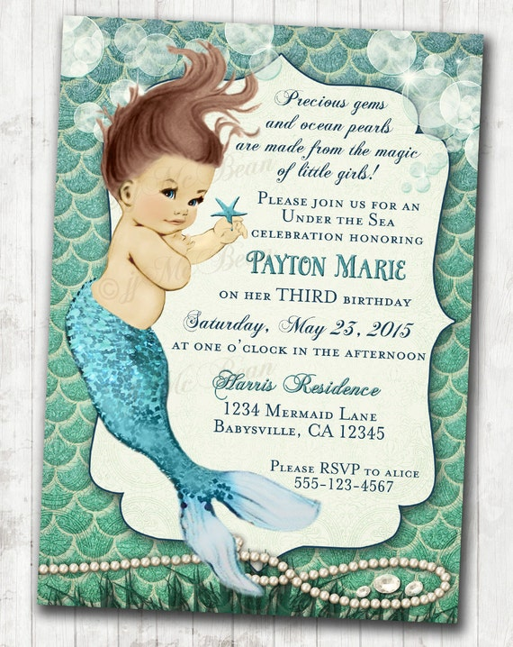 Mermaid Birthday Invitation Little Mermaid Ocean Birthday Under The