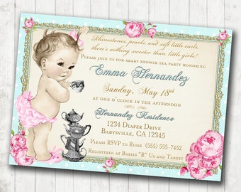 Baby Shower Tea Party Invitation - Shabby Chic Floral Vintage Baby Shower Invitation For Girl -Roses & Gold- DIY Printable
