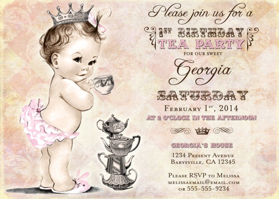 First birthday tea party invitation for girl princess etsy image 0 filmwisefo