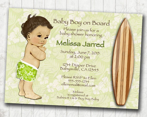Surf Baby Shower Invitation Hawaiian Surfer