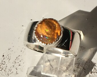 Ring Psychedelic Mexican Fire Opal in Fine and Sterling Silver Size 6