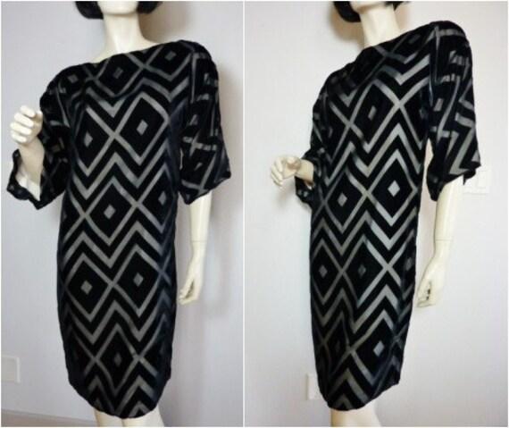 DOMINIQUE Vtg. 60s DECO Mod Geometric Dress Velvet