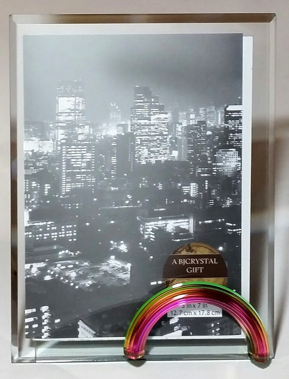 Rainbow Glass Photo Frame Glass Picture Frame 5x7 Inch Etsy