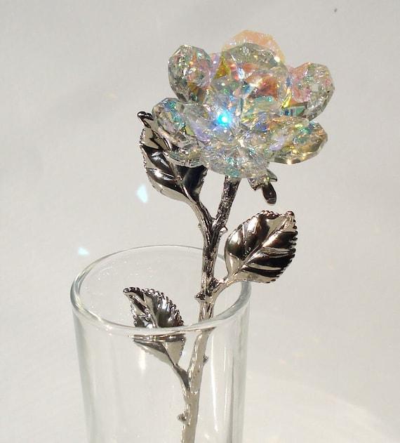 Crystal Rose Made With Swarovski Crystal In Glass Vase Etsy