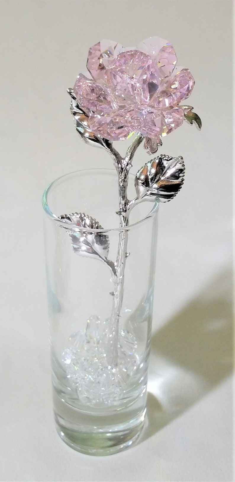 bd5b0b29ebd Pink Crystal Rose Mase With Swarovski Crystal In Mini Vase | Etsy
