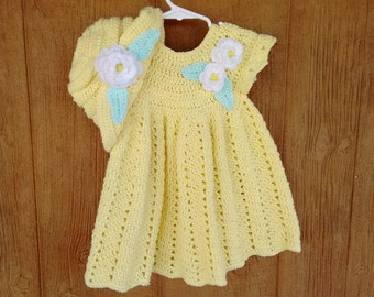 Hand Crochet Baby Dress w/Hat, Yellow Baby Dress w/Hat, Crochet Spring Baby Dress, Crochet Baby Hat w/Flower,Infant Flower Dress and Hat