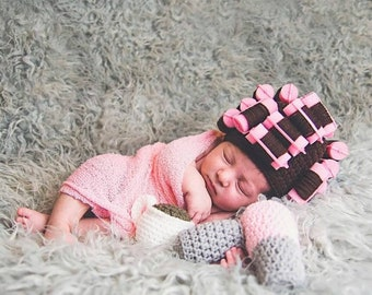 Quick to Ship Hand Crocheted Curler Hat, Crocheted Curler Hat, Pink Roller Hat,Curler Hat Photo Prop, Baby Photo Prop,Custom Curler Hat