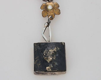 Pyrite Crystal Necklace with a Gold Flower