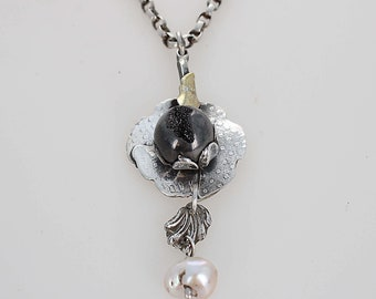 Black Drusy Geode Necklace