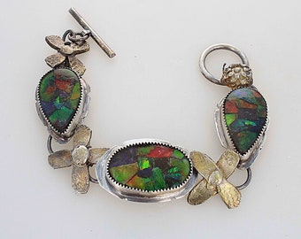 Natural Ammolite Bracelet with Golden Flowers