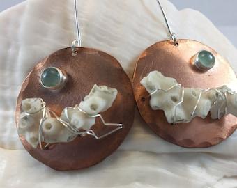 Earrings- Copper, Coral, Peridot