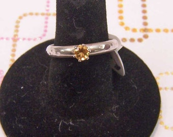 Ring- Sterling Silver with Faceted Citrine Sz 8.5