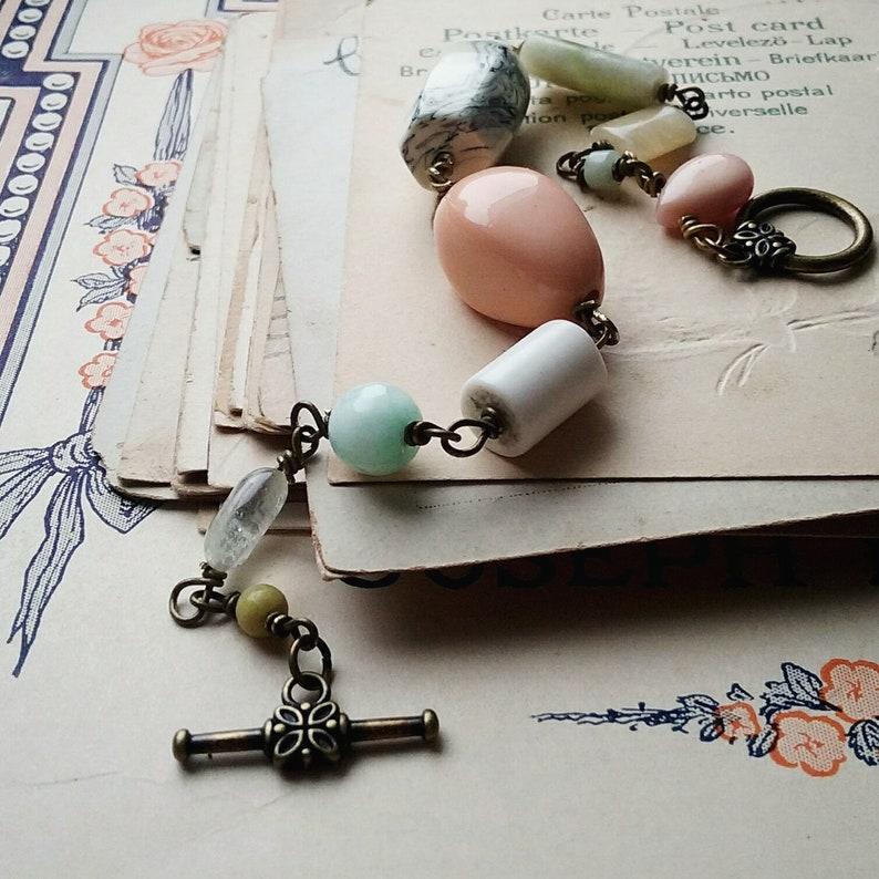 Colorful Beaded Bracelet Vintage Bead Chunky Stacking Bracelet Rosary Style Pastel Bracelet Vintage Style Jewelry for Women