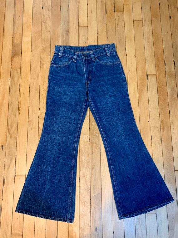 Peachy Pie 70s (26) Dark Wash Denim Orange Tab Le… - image 2
