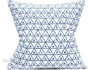 Blue and White  Pillow Cover - Broken Triangle Blue - 20x20 -  ethnic - global - bohemian - decorative pillow cover - ready to ship