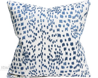 Les Touches Pillow Cover - embroidered - Canton Blue - 20x20 - blue and white - leopard print - animal print - ready to ship