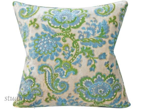 Vintage Velvet Pillow Cover 20x20 Floral Botanical Mid Etsy