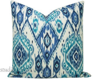 Outdoor Pillow Cover - Ikat Pillow - blue ikat - bohemian - tribal - ethnic - blue and white - ready to ship